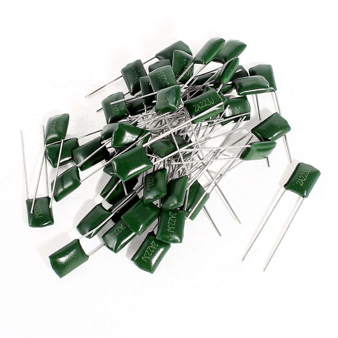 50 Pcs Radial Leads Polyester Film Cap Capacitance Capacitors Green 2A223J 100V 22nF 5%