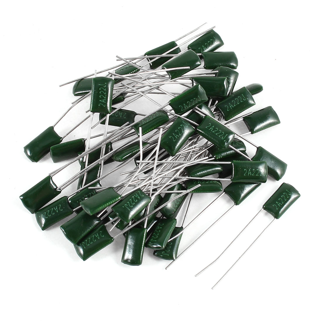 50 Pcs Radial Leads Polyester Film Cap Capacitance Capacitors Green 2A222J 100V 2.2nF 5%