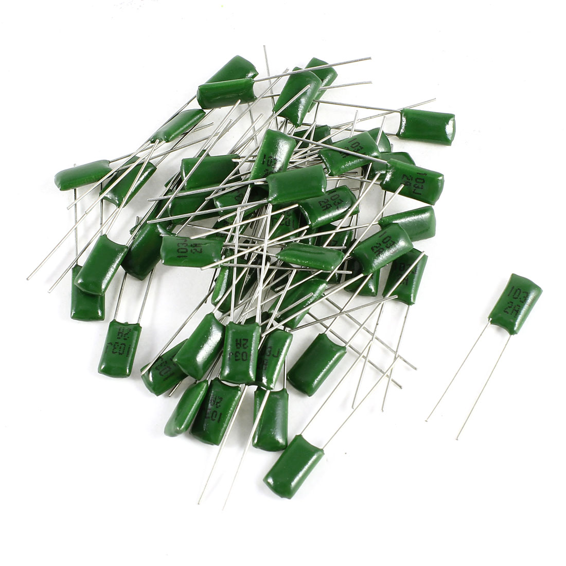 50 Pcs Radial Leads Polyester Film Cap Capacitance Capacitors Green 2A103J 100V 10nF 5%