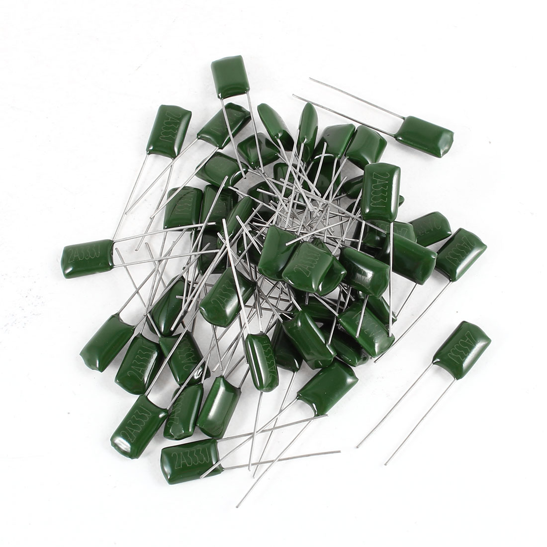 50 Pcs Radial Leads Polyester Film Cap Capacitance Capacitors Green 2A333J 100V 33nF 5%