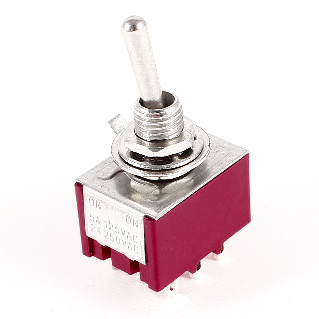 Electric Mini Toggle Switch 3PDT 2 Position ON-ON 9-PIN AC 250V/2A 125V/5A