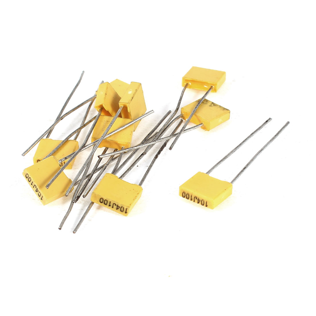 10 Pcs 104J100 0.1uF 100V Radial Leads Polyester Film Box Type Correction Capacitors