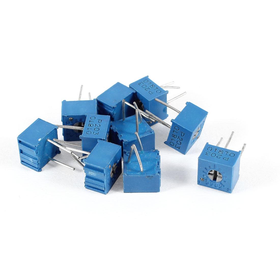 10 Pcs Potentiometer Trimmer Trimpot Variable Resistor 3362P-203 20K Ohm