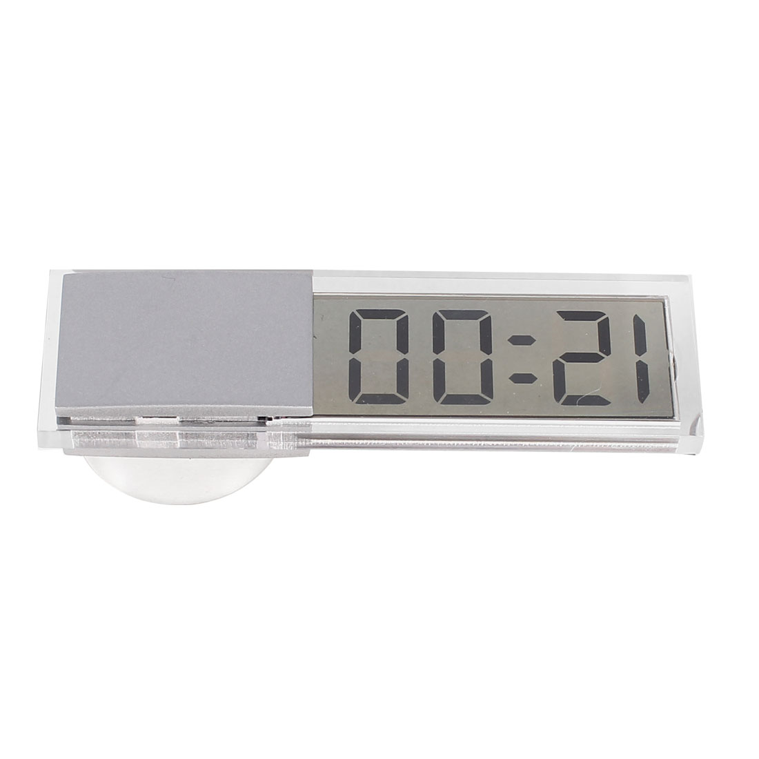 Suction Cup Mount Mini Transparent LCD Display Digital Car Electronic Clock