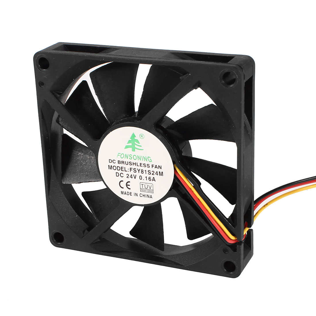 FSY81S24M 80mm x 80mm x 15mm 3Pin 24V DC Brushless Sleeve Bearing Cooling Fan for PC Case
