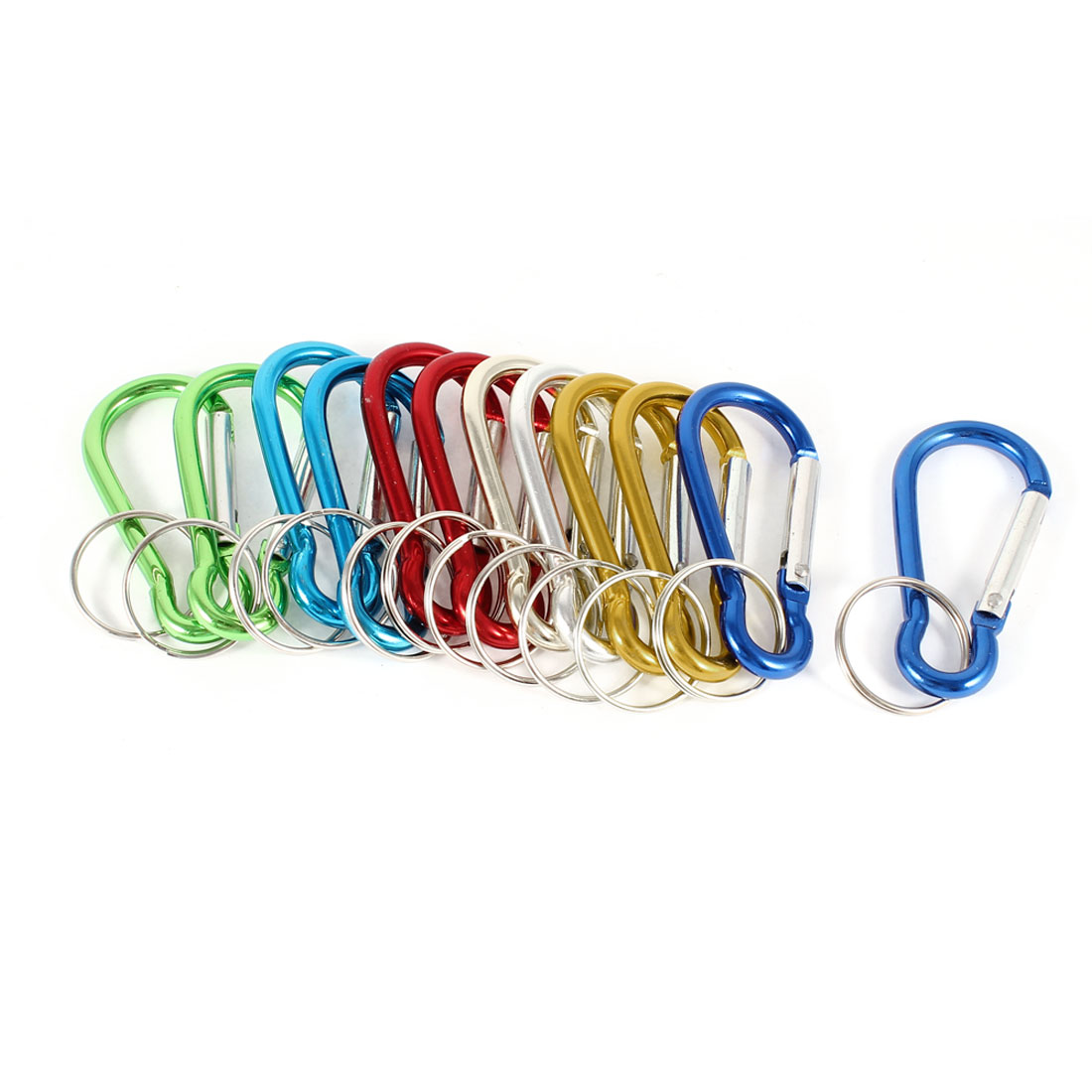 12 Pcs Aluminum Alloy Spring Loaded Gate Key Ring Carabiner Multicolor