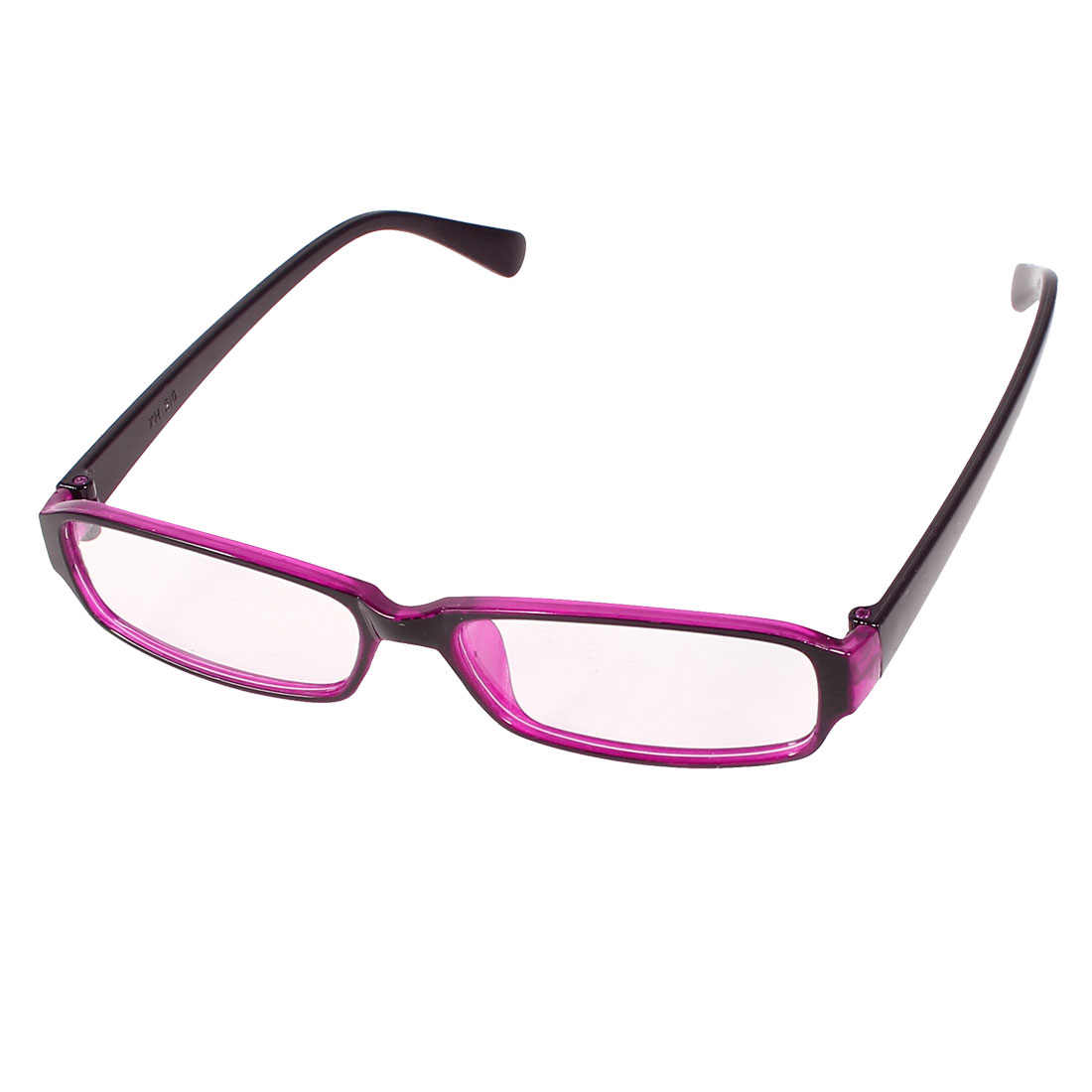 Women Fuchsia Black Plastic Arms Clear Lens Rimmed Plain Glasses