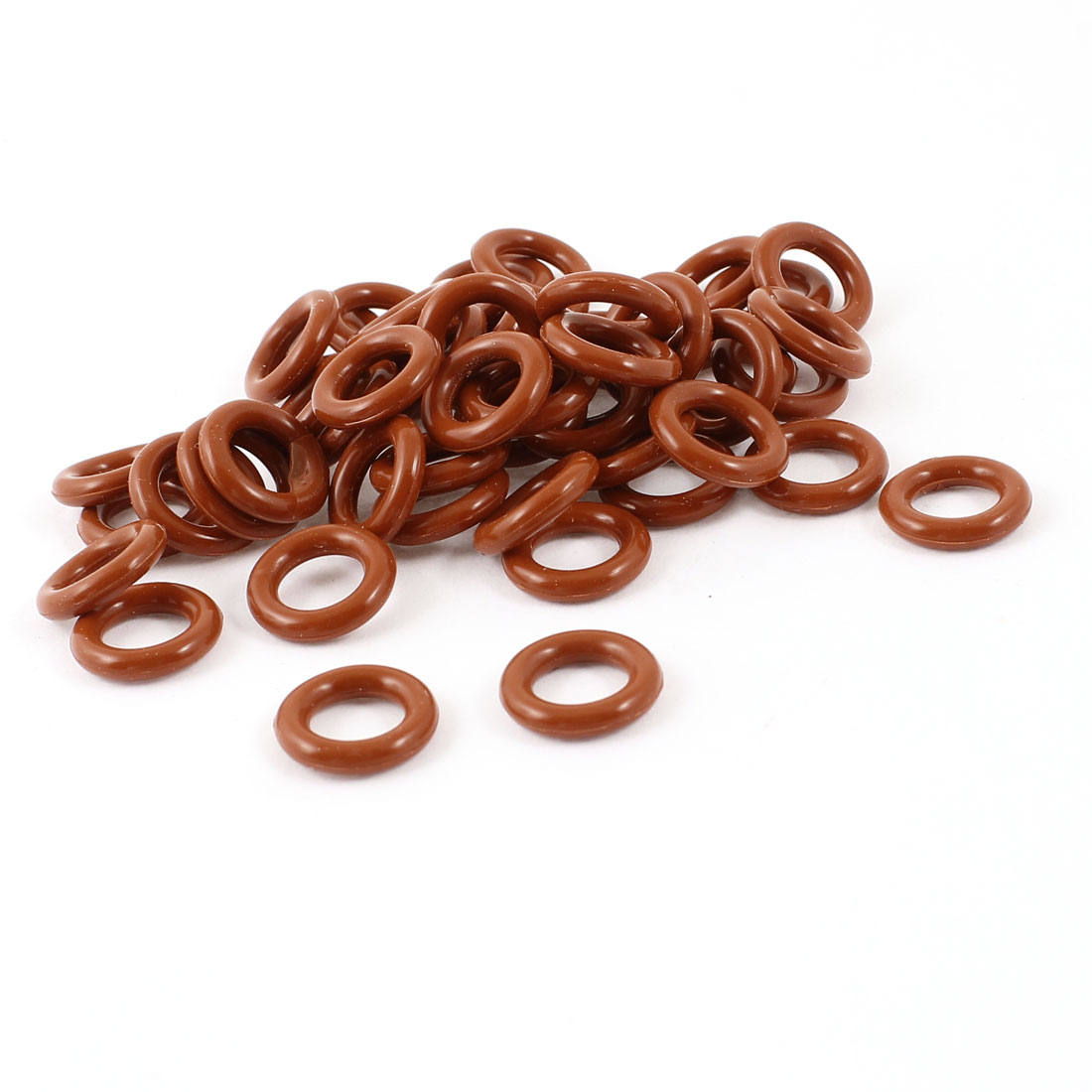 15mm x 9mm x 3mm Brick Red Rubber O Shaped Rings Oil Seal Gasket Washer 50 Pcs