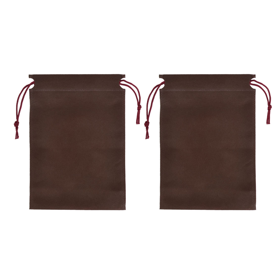 Clothes Dust Cover Storage Drawstring Bags 23 x 17cm Chocolate Color 2pcs