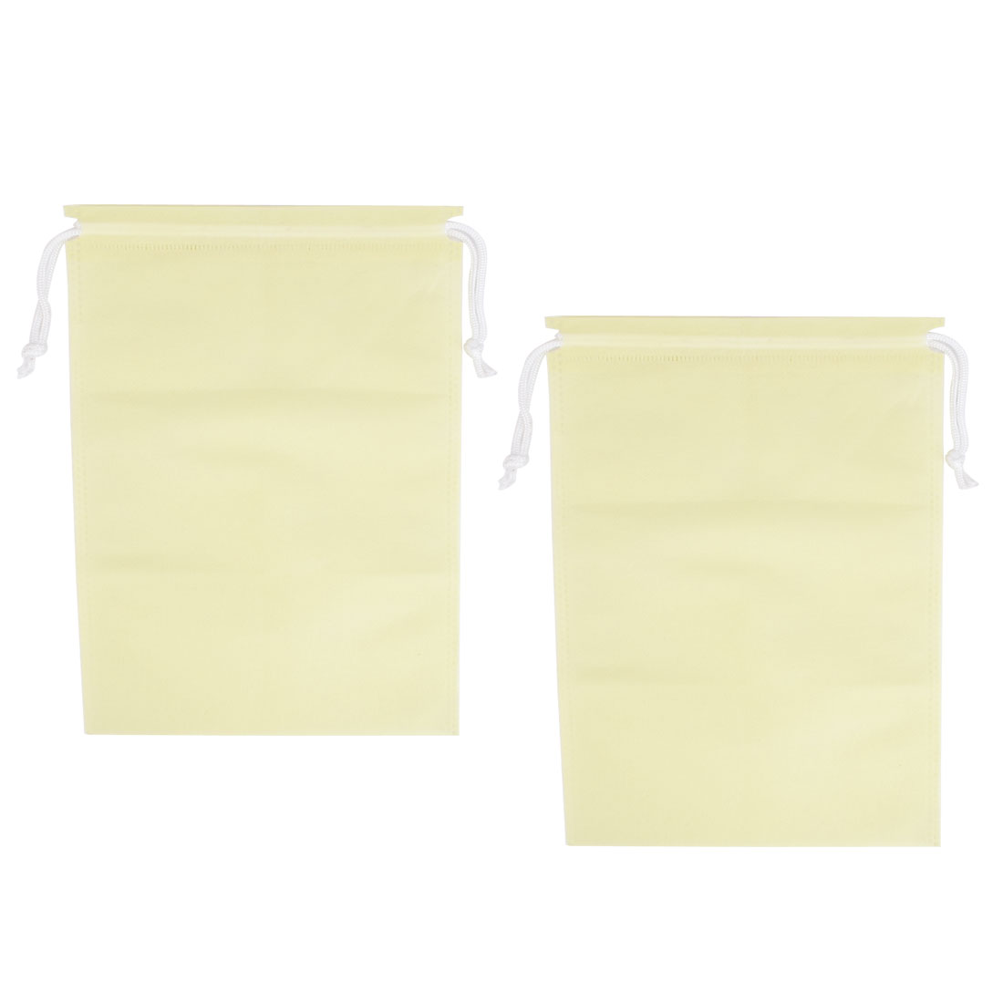 Household Clothes Shoe Dust Cover Storage Travel Drawstring Bags Beige 2pcs
