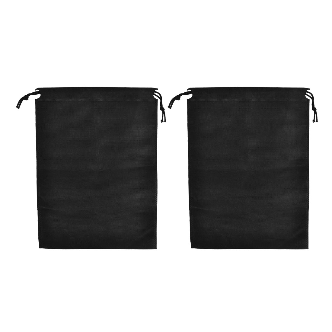 Traveling Clothes Dust Cover Storage Drawstring Bags Black 34 x 25cm 2pcs