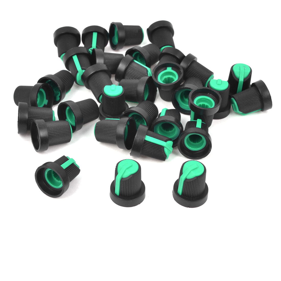 32pcs 6mm Knurled Shaft Green Top Taper Volume Knob Cap for Potentiometer Pot