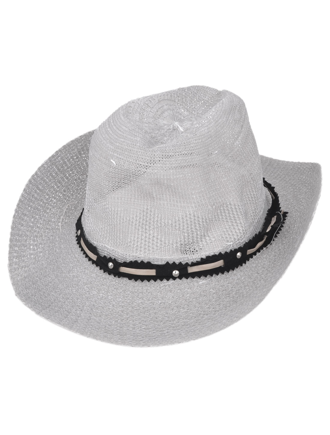 "Man Lady Spring 4.7"" Depth Adjustable Chin Strap Cowboy Hat Light Gray S"