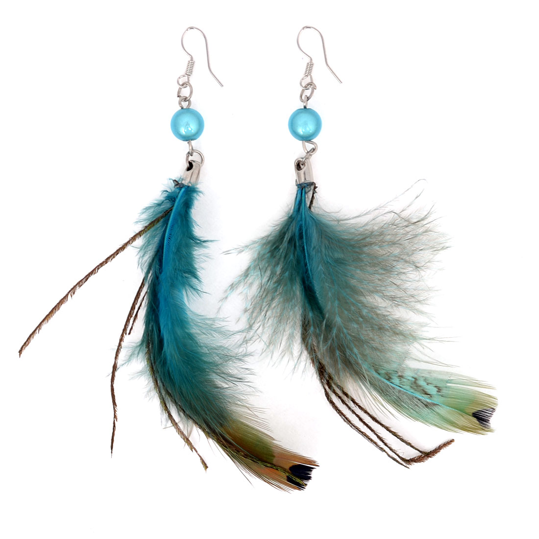 Pair Teal Blue Faux Feather Detail Fish Hook Earrings Teal for Women