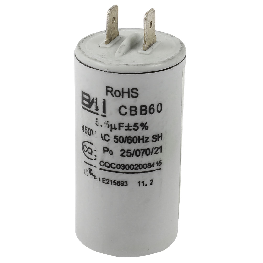 AC 450V CBB60 6.5UF 5% 50/60Hz Cylinder Shape Polypropylene Film Washer Electrolytic Motor Capacitor Gray