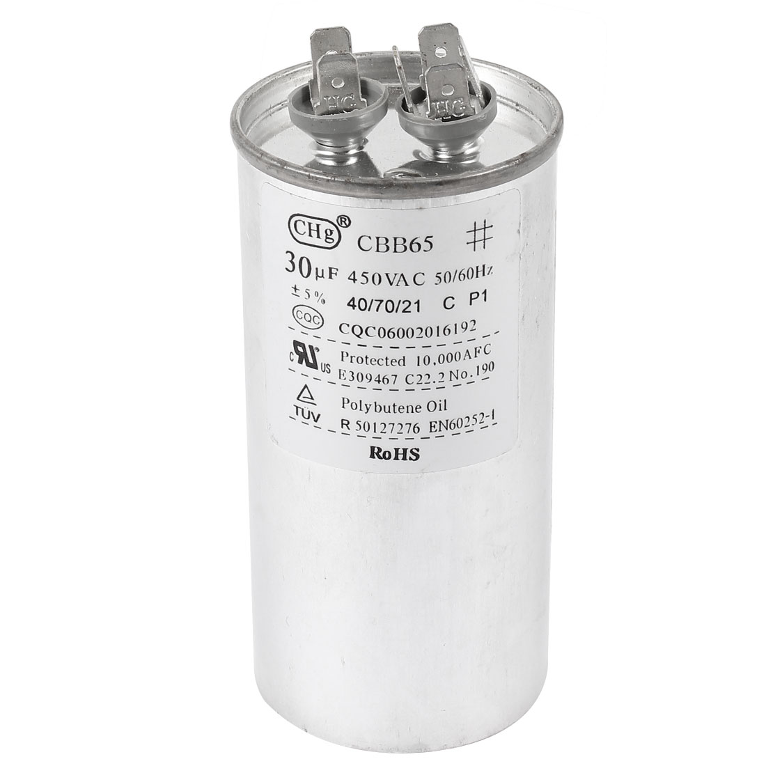 AC 450V CBB65 30uF 50/60Hz 6 Terminals Cylinder Shaped Air Conditioner Motor Run Capacitor Silver Tone