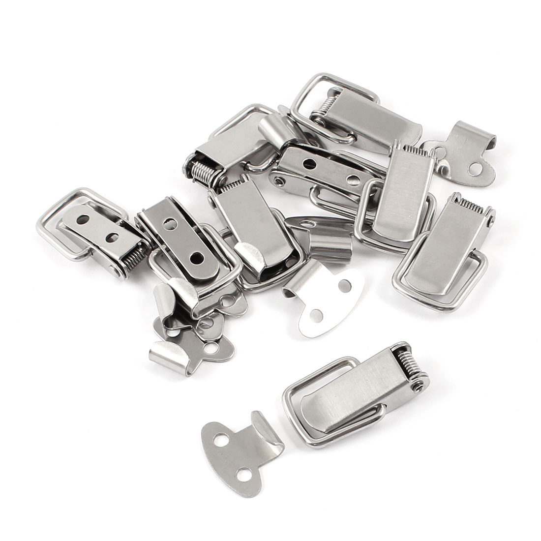9 Set Hardware Silver Tone Spring Loaded Cases Closet Toggle Latch Hasp