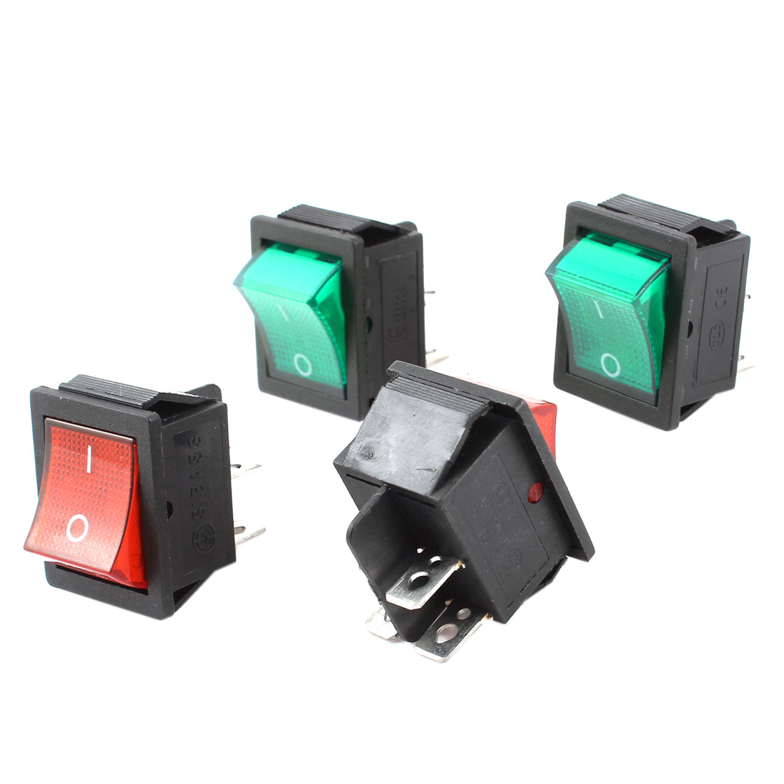 4pcs 20A 125V 15A 250V AC 2 Position 4 Pin Red Green Light DPST Rocker Switch