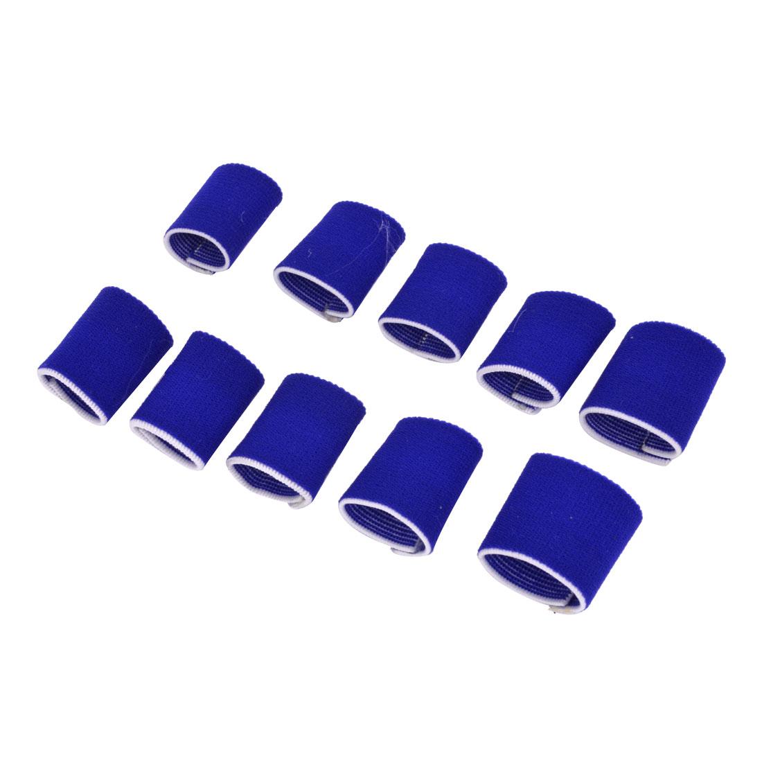 Royal Blue Elastic Sports Finger Protector Sleeve 10 Pcs