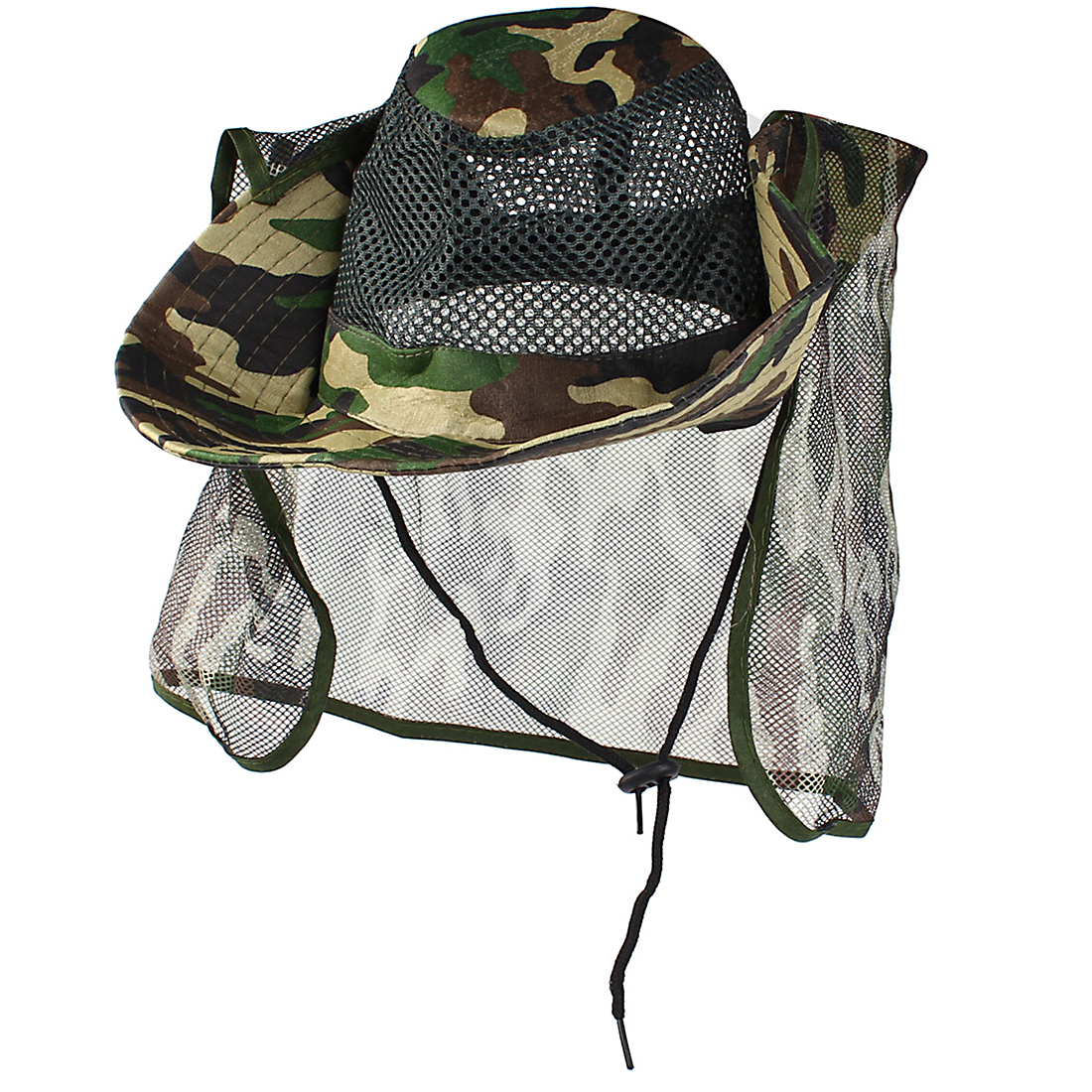 Fishing Camouflage Pattern Nylon Flap Mesh Wide Brim Sun Visor Cap