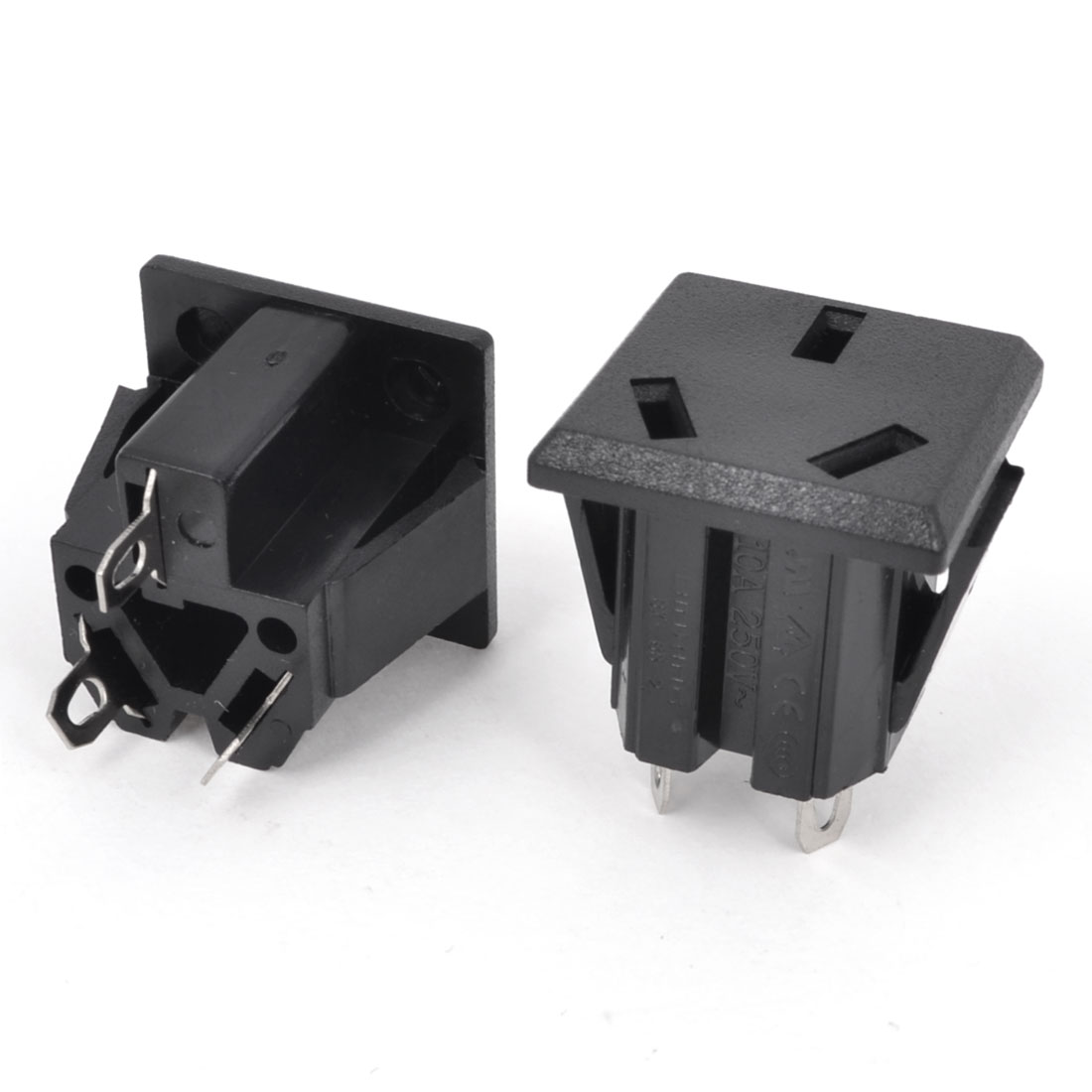 2 Pcs Square Shaped AU 3 Terminals Power Socket Adapter AC 250V 10A