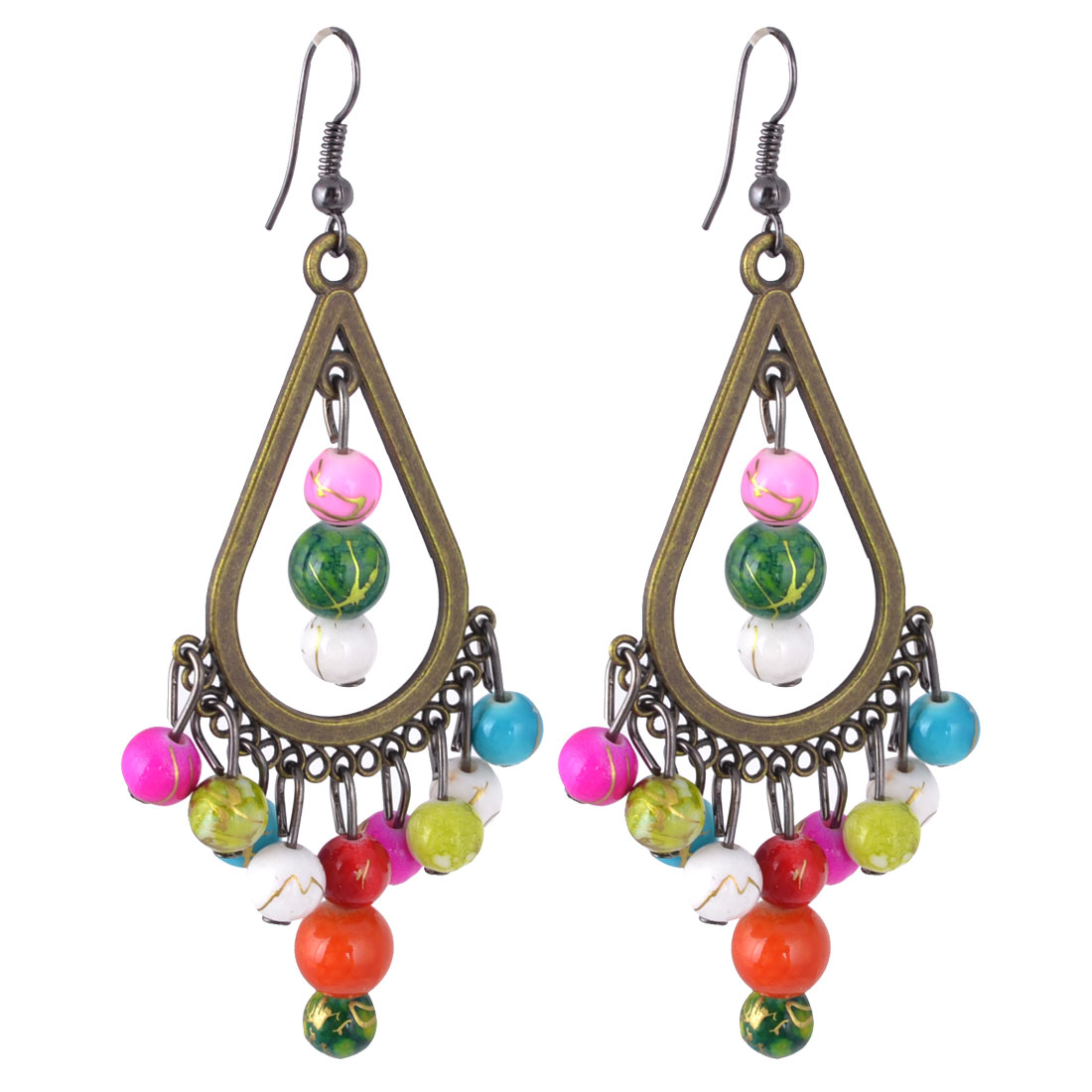 Women Colorful Beads Detail Chandelier Pendent Hook Earrings Bronze Tone Pair