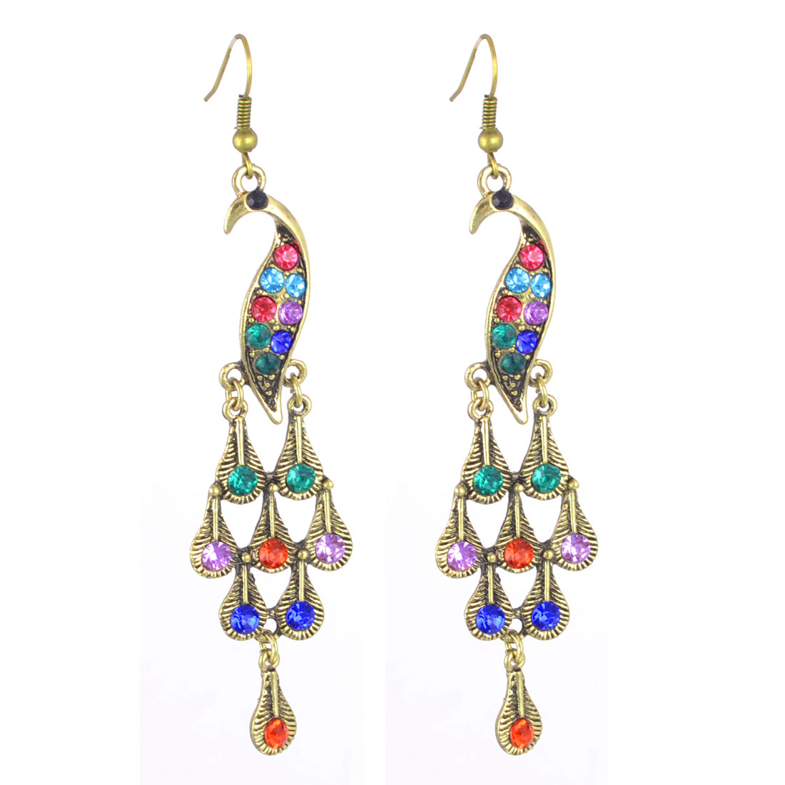 Women Colorful Rhinestone Inlaid Peafowl Chandelider Pendent Hook Earrings Pair