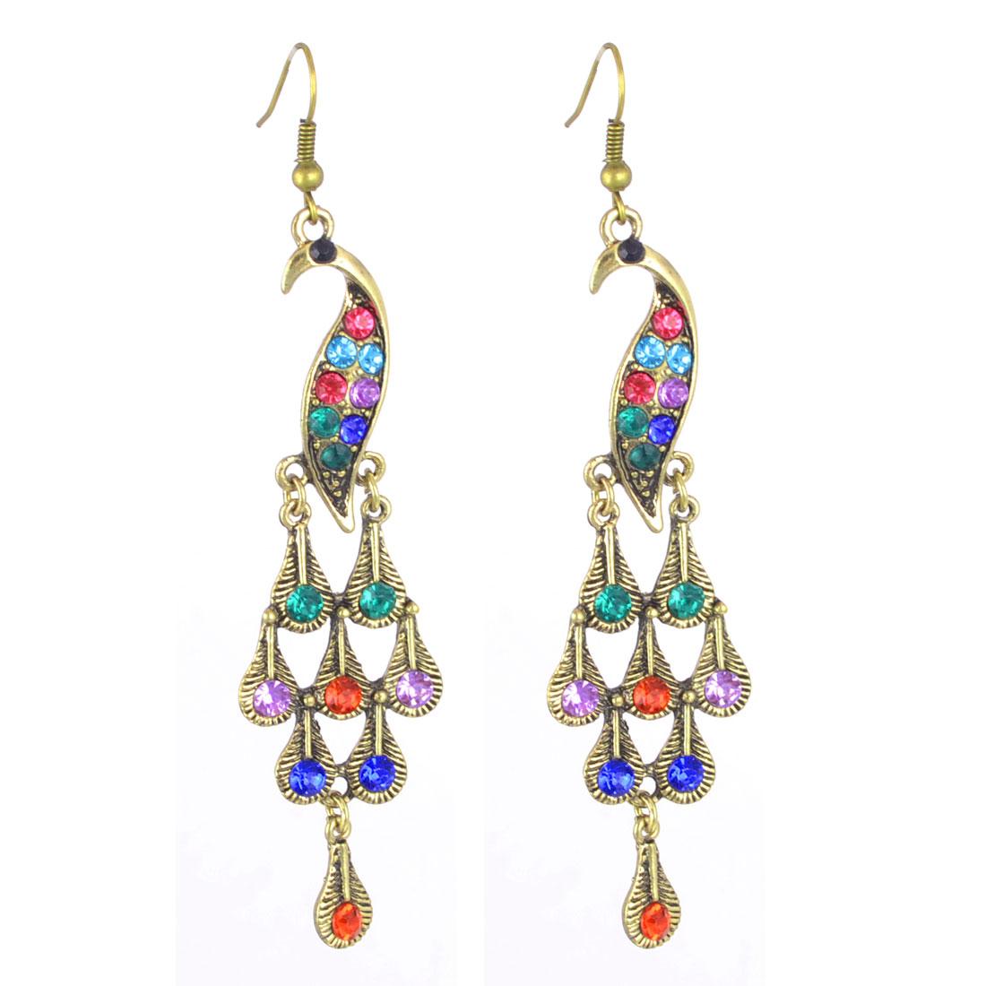 Women Colorful Rhinestone Inlaid Peafowl Chandelider Pendent Hook Earrings Pair