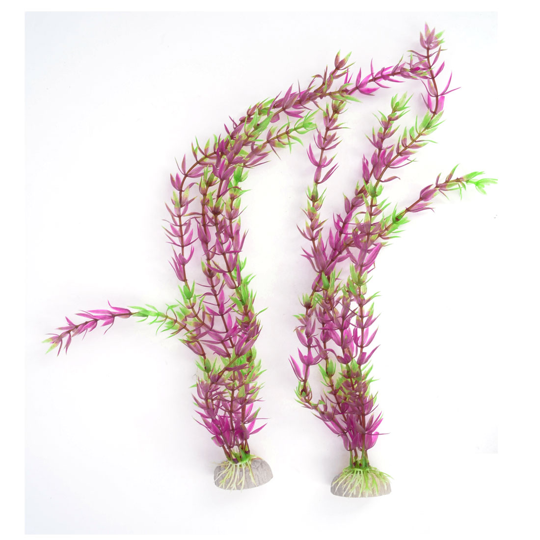 2 Pcs Aquarium Ceramic Base Plastic Simulation Plant Grass Decor Green Purple