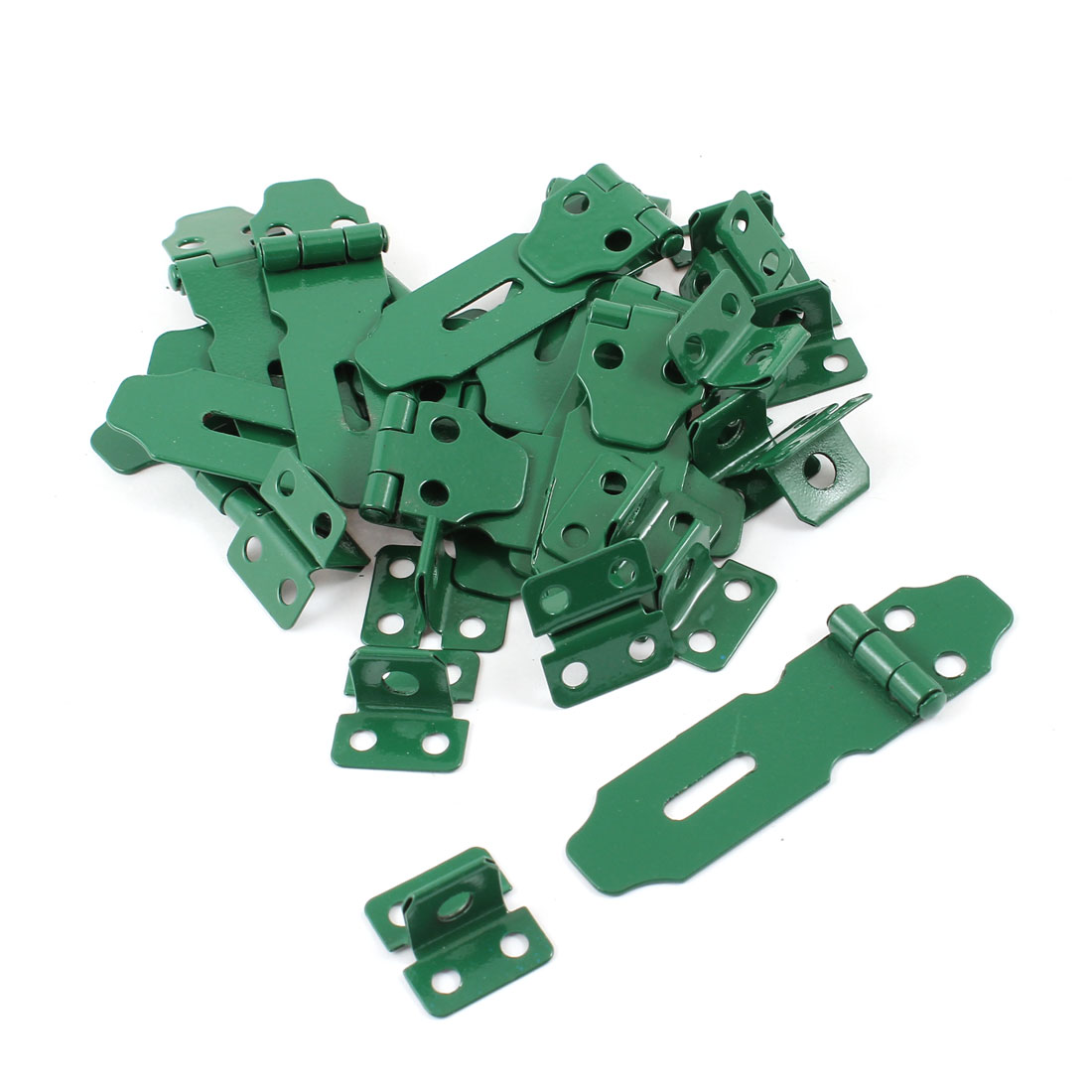 13 Pcs Home Cupboard Cabinets Doors Green Latch Hasp Staple Set 5.5cm Long