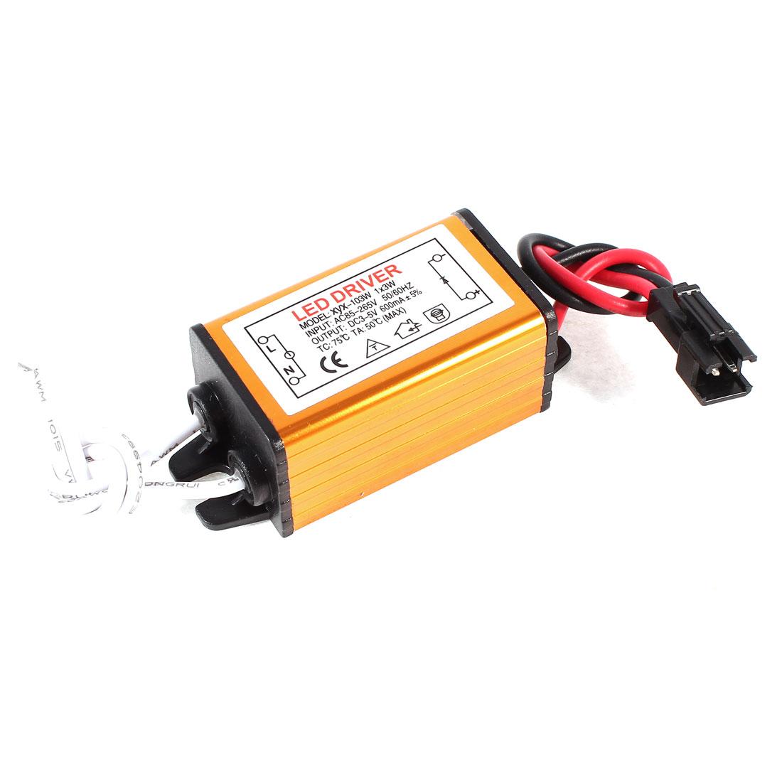 AC 85-265V DC 3-5V 600mA LED Driver Power Supply Converter Adapter for 1x3W LED Strip Light