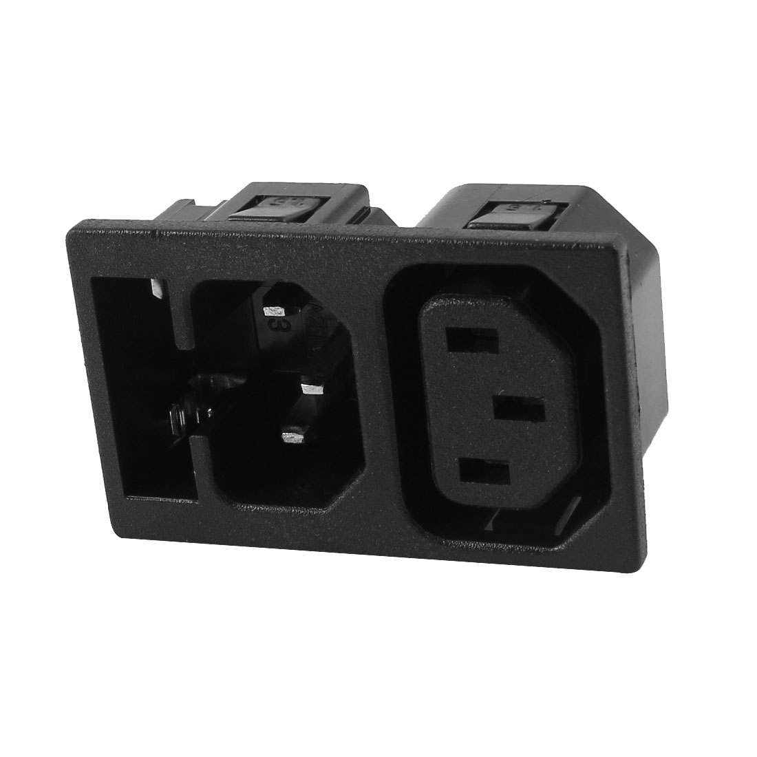 AC 250V 10A/15A Panel Mounted IEC C13 C14 Power Socket Adapter w Fuse Holder