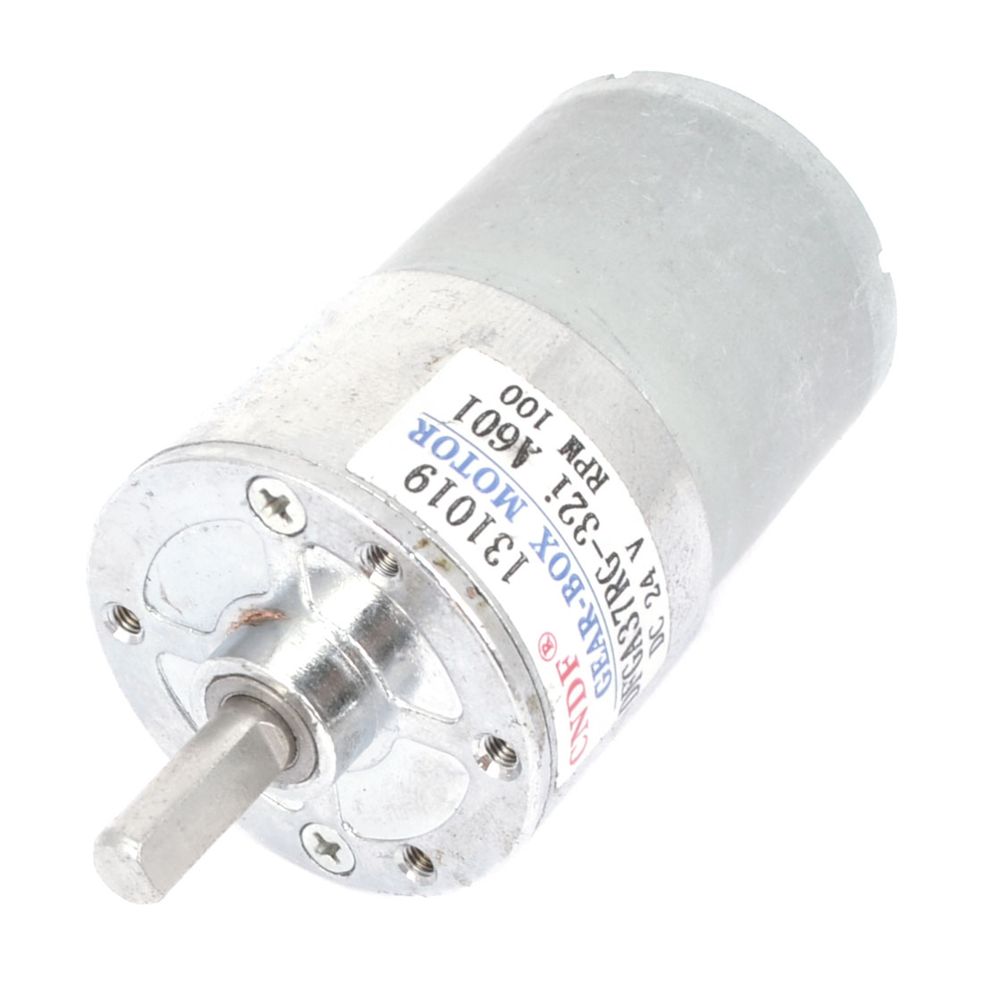 Silver Tone Metal DC 24V 100RPM Rotation Output Speed Motor