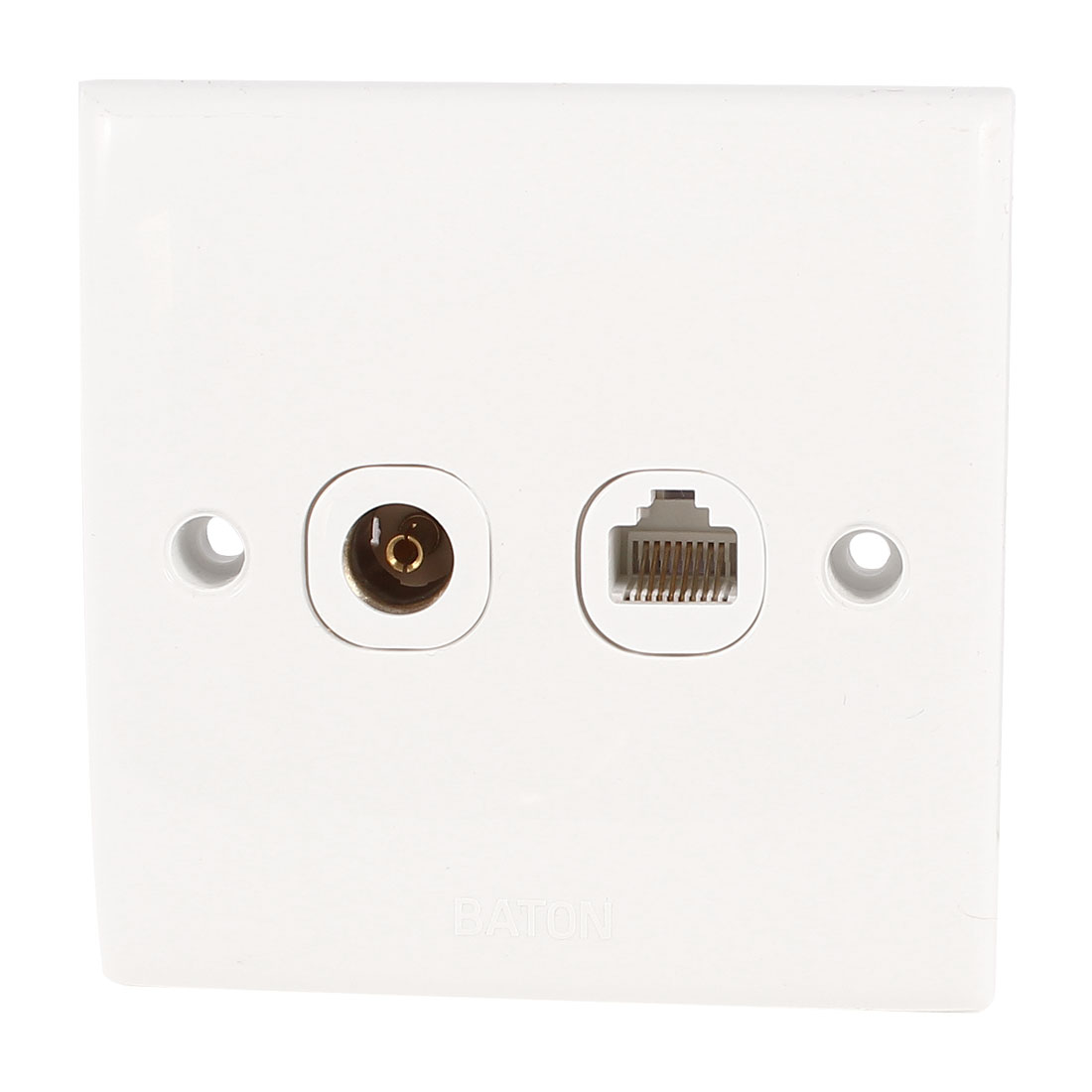 AC 250V 10A Plastic RJ45 Computer Cable Socket PAL TV Jack Wall Plate