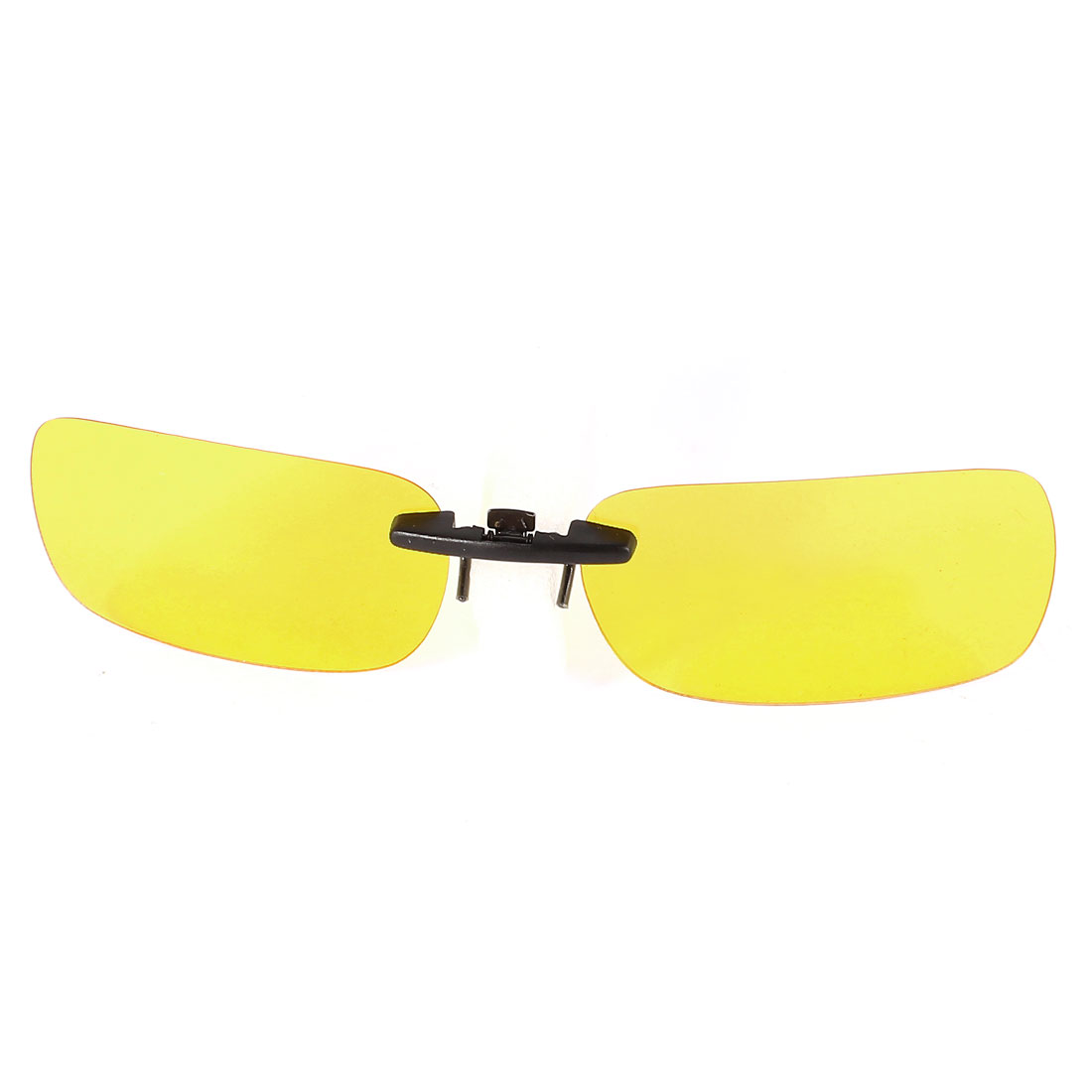 Outdoor Sports Unisex Clear Lens Rimless Clip on Polarized Sunglasses w Case Yellow