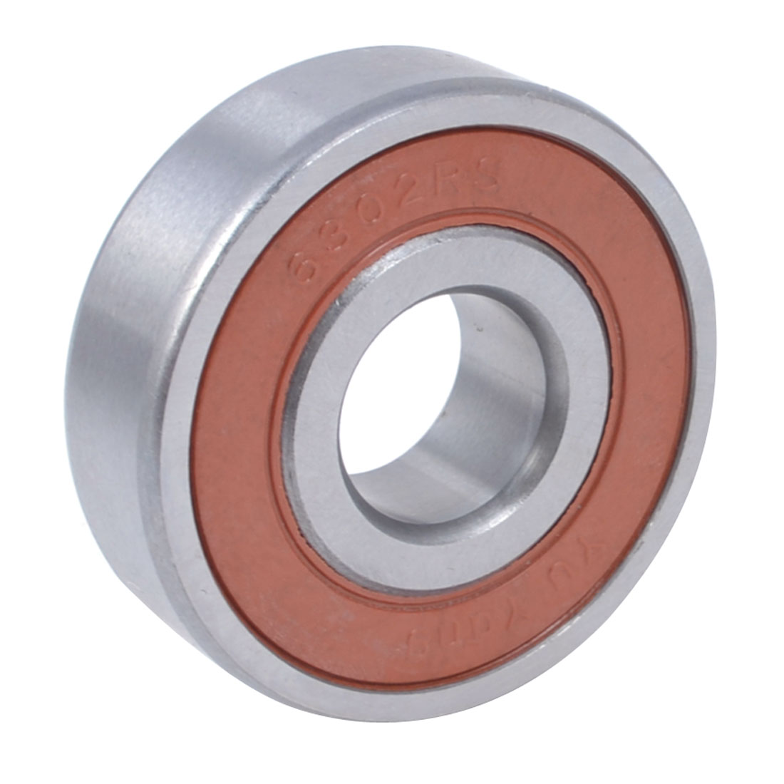 6302-2RS Sealed Deep Groove Ball Roller Bearing 41mm Outer Dia Red Silver Tone