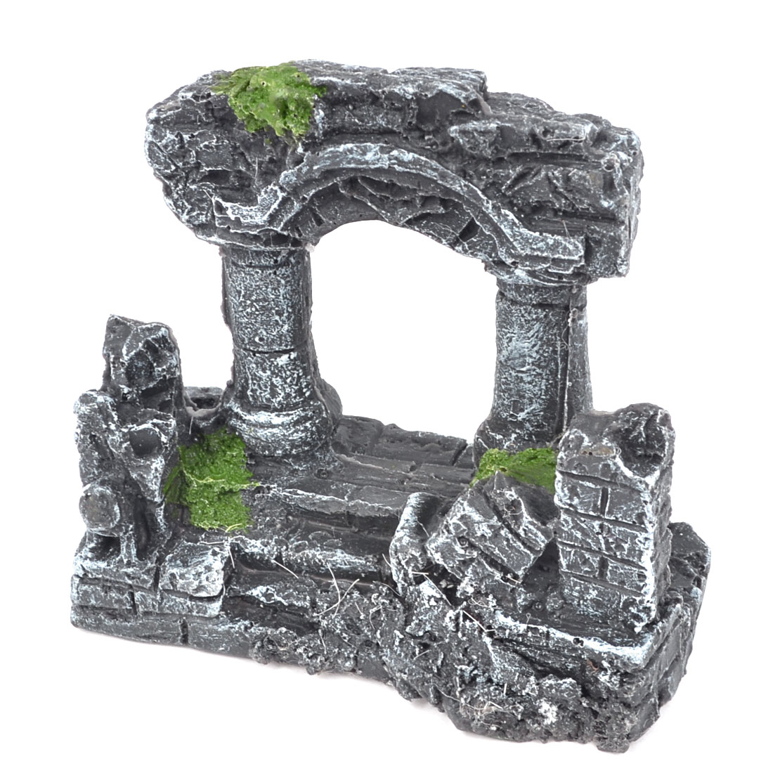 Fish Tank Landscaping Ornament Underwater Resin Building Design Dark Gray