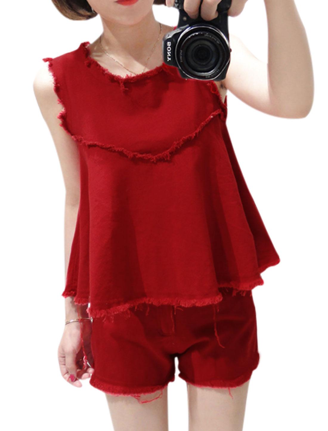 Ladies Sweet Tassel Detail Tank Top w Slant Pockets Shorts Red S