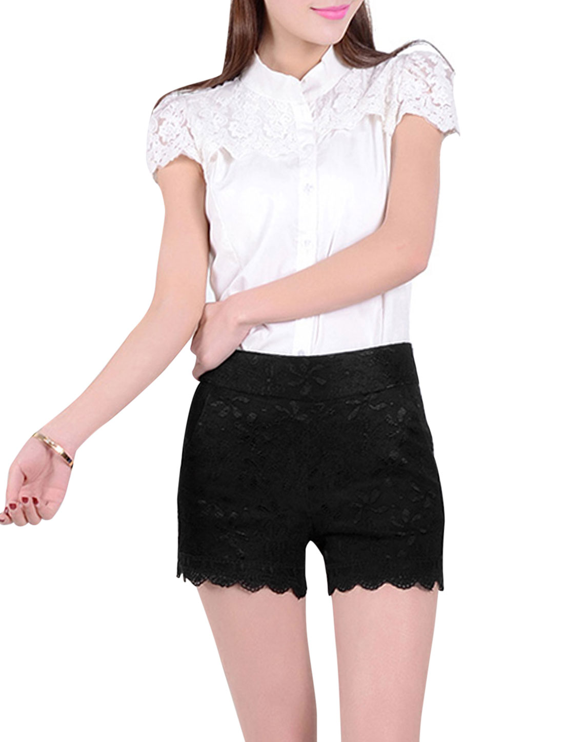 Ladies Elegant Hidden Side Zipper Flower Embroidery Lace Shorts Black XS
