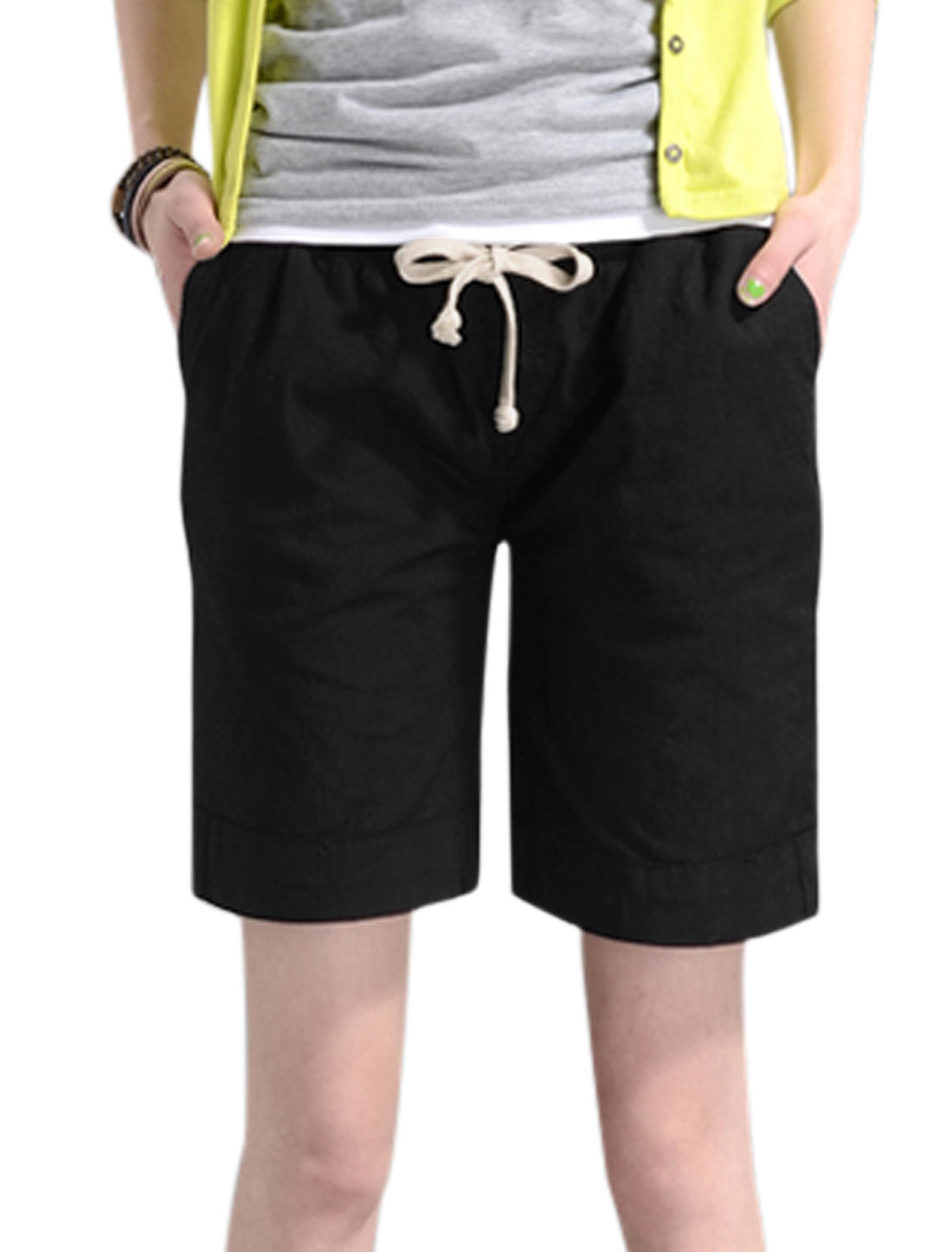 Lady Elastic Drawstring Waist Loose Fit Casual Shorts Black S