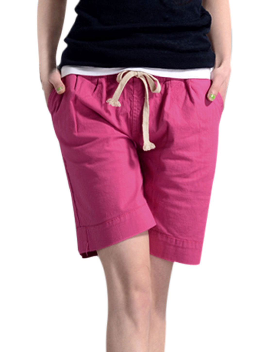 Lady Elastic Drawstring Waist Loose Fit Leisure Shorts Fuchsia S