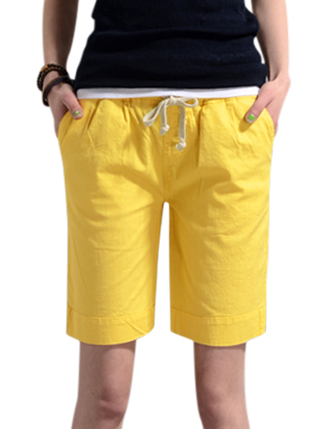 Lady Elastic Drawstring Waist Loose Fit Summer Shorts Yellow S