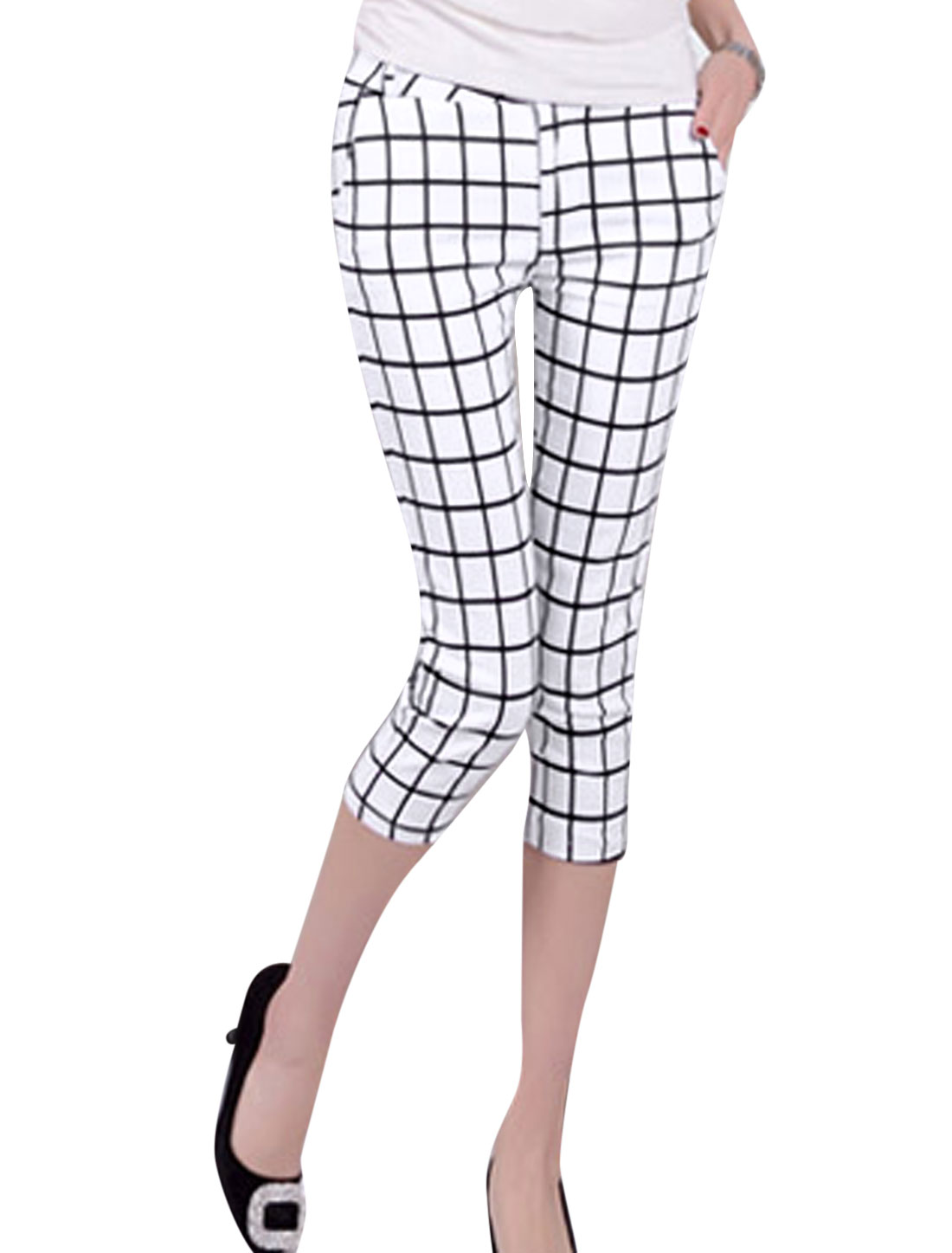 Lady Belt Loop Zip Fly Plaids Elastic Slim Fit Capris Pants White XS