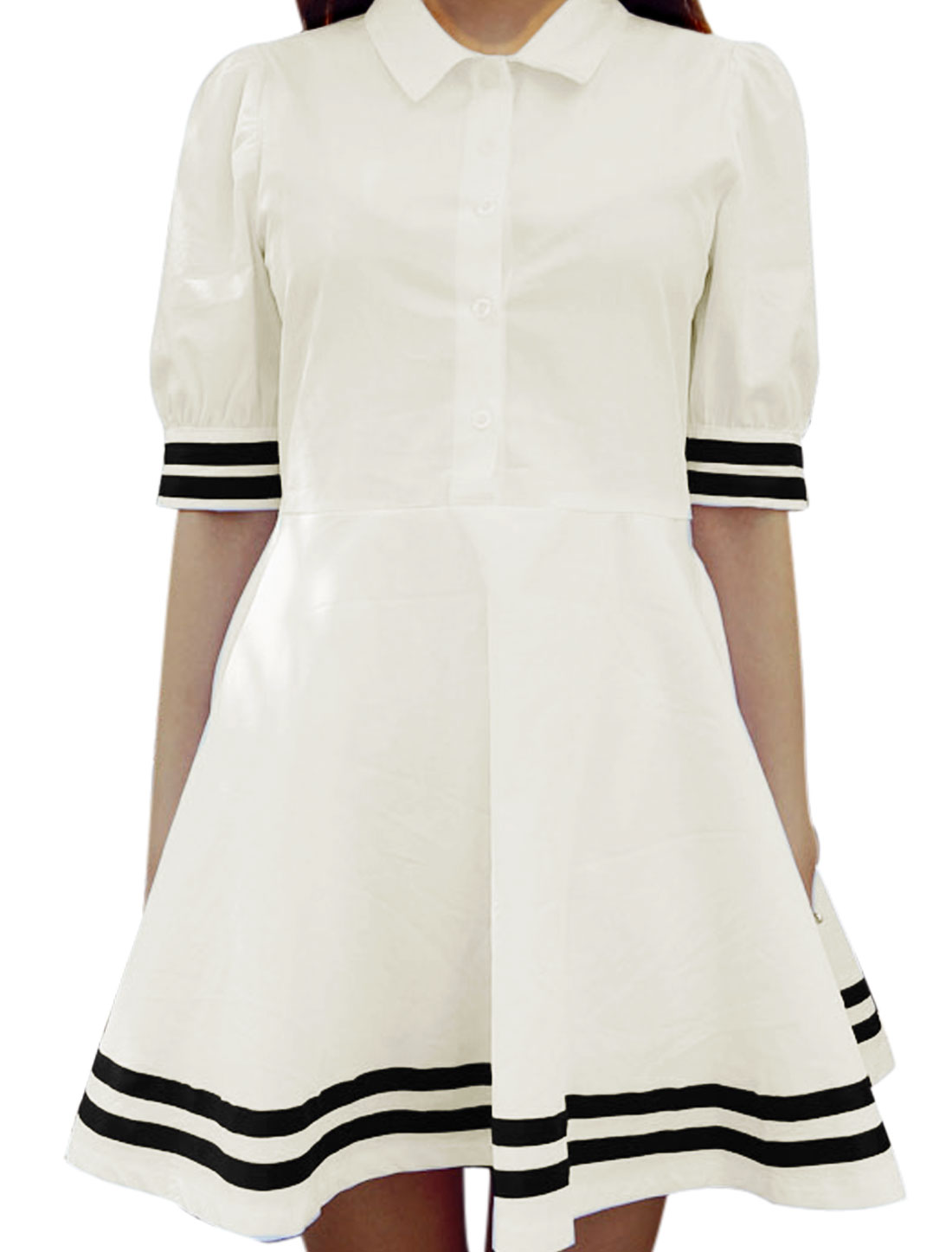 Lady Button Closure Front Stripes Edge Short Sleeve Casual Short Dress White XS