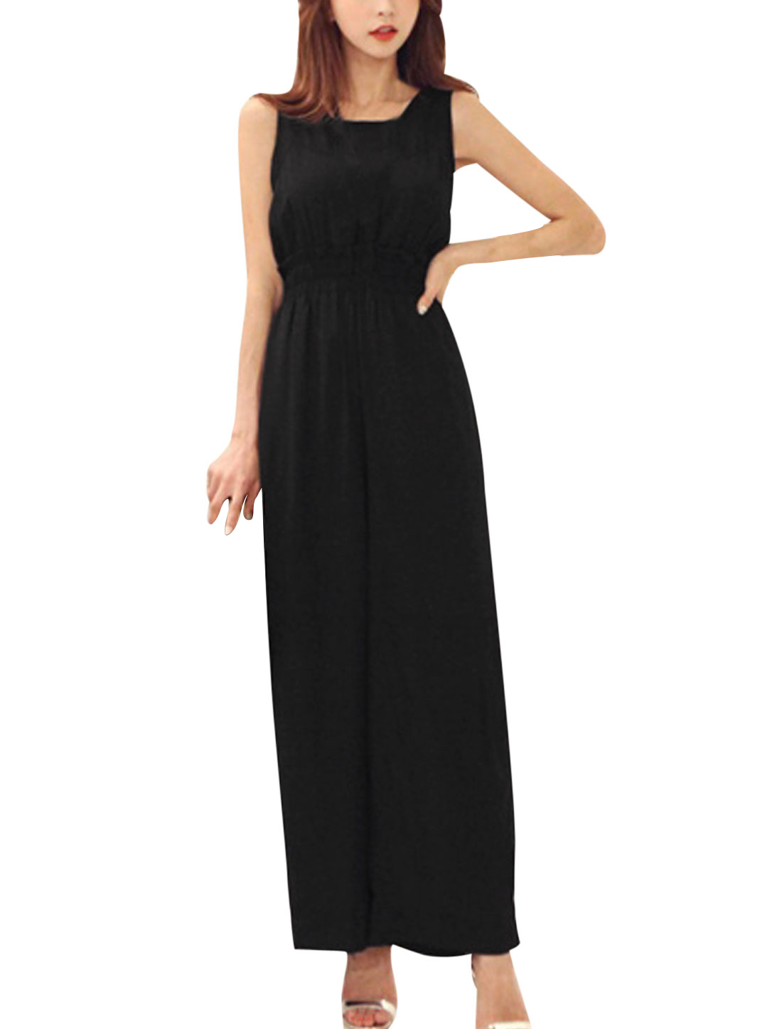 Women Sexy Cut Out Back Chiffon Splicng Elastic Waist Jumpsuit Black S
