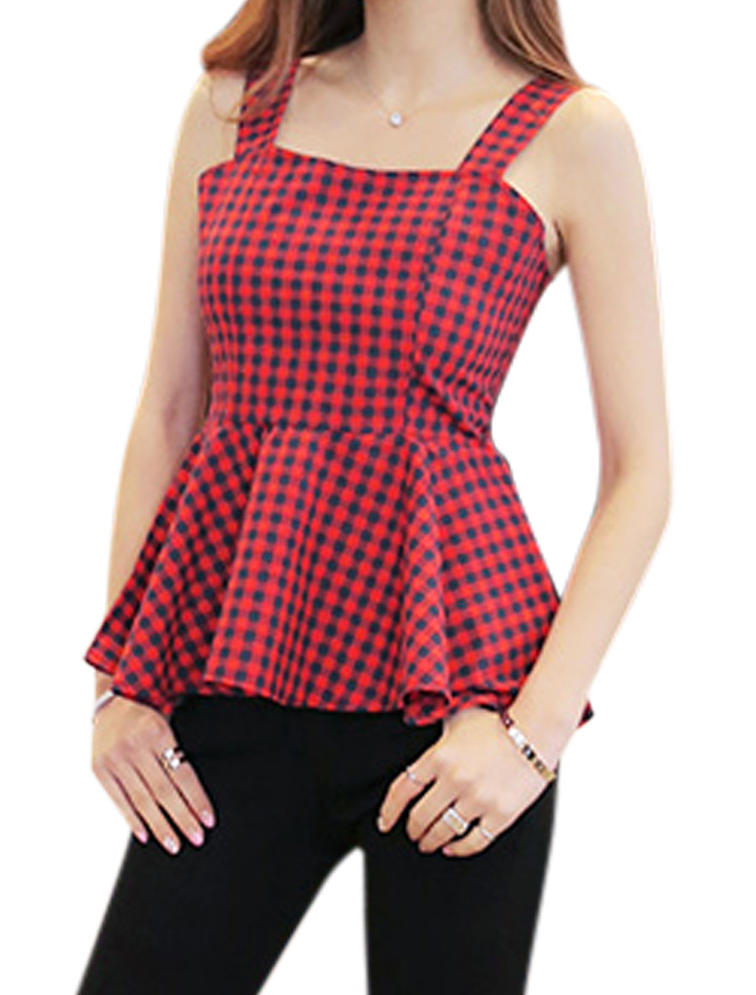 Women Square Neckline Sleeveless Plaids Zip Fly Back Puplum Top Red XS
