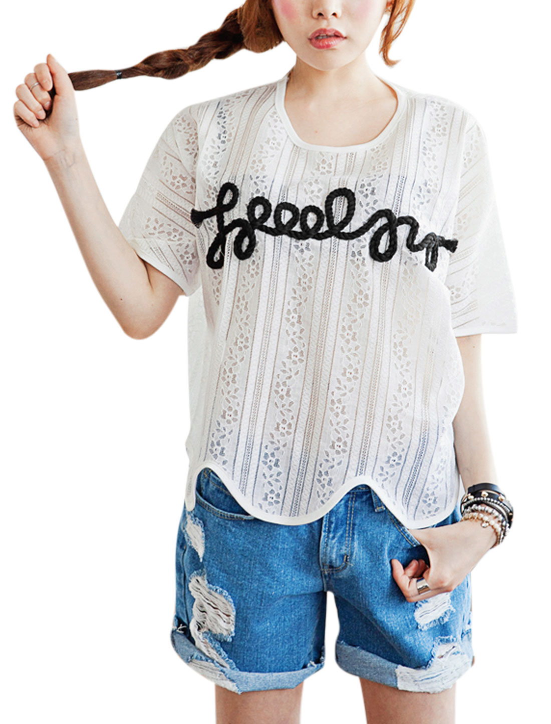 Lady's Short Sleeve Crochet Braided Decor Scalloped Hem Casual Top White S