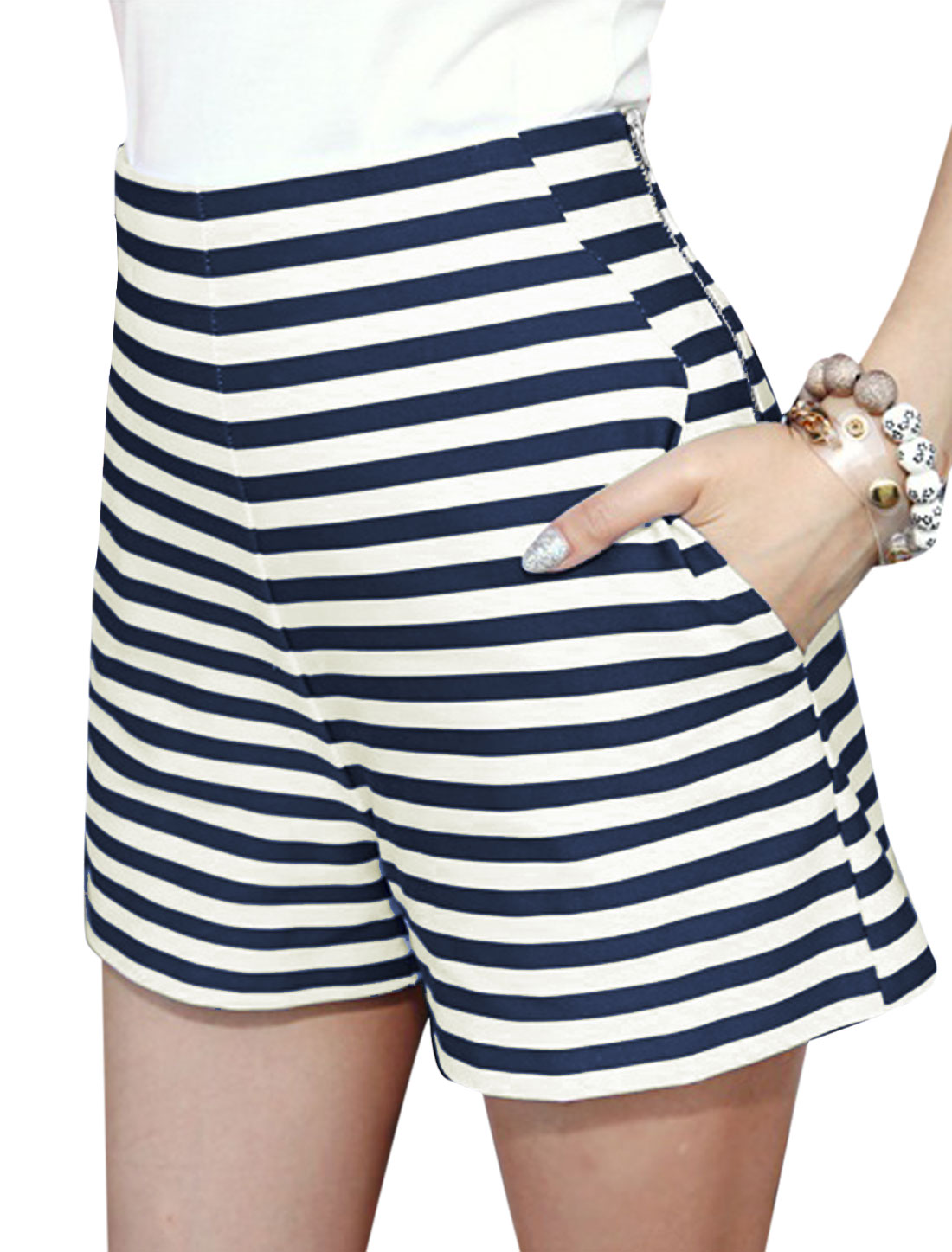 Lady High Waist Zip Side Stripes Slim Fit Casual Shorts White Navy Blue XS