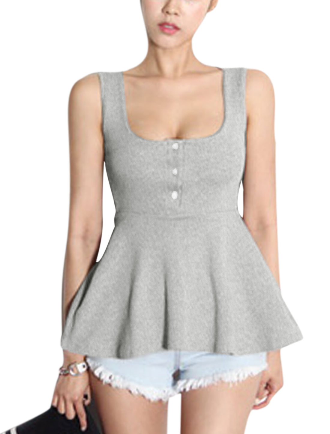 Lady Deep U Neck Sleeveless Button Front Sexy Peplum Tank Top Gray XS