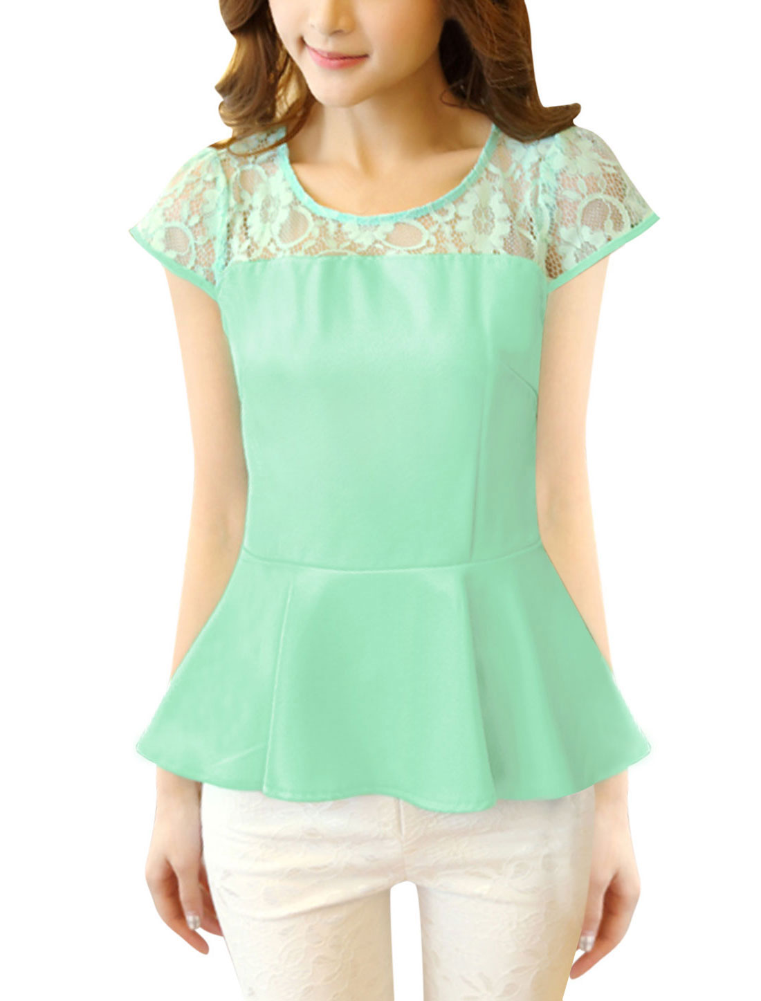 Ladies Cape Sleeve Semi Sheer Detail NEW Sweet Peplum Top Mint S